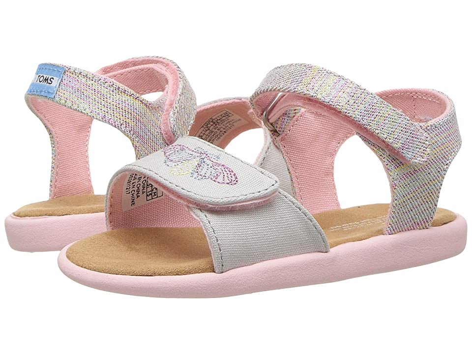 TOMS Kids Strappy (Infant/Toddler/Little Kid) (Pink Multi Twill Glimmer) Girl