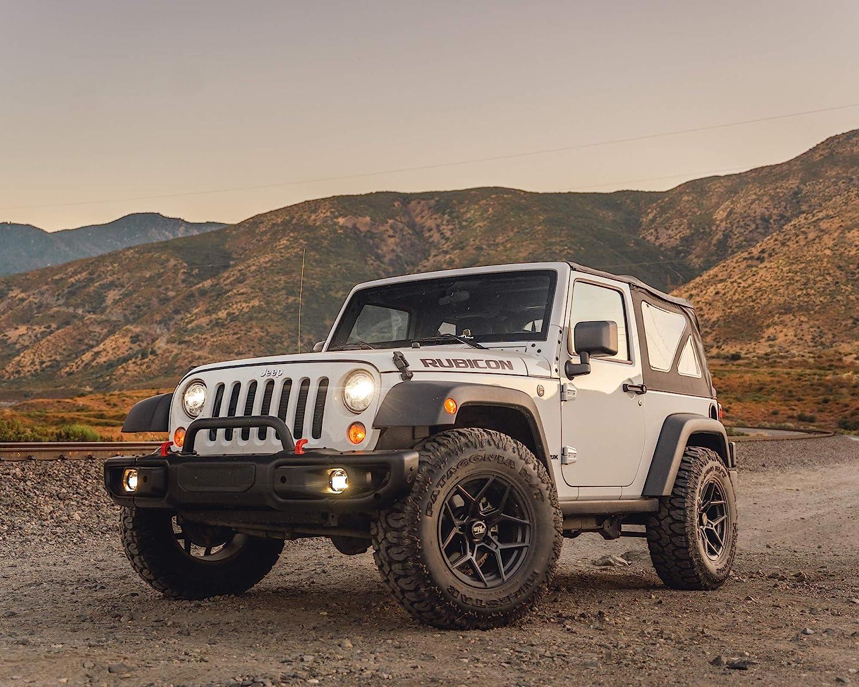 Buy RockTrix RT105 17 inch Wheels Compatible with Jeep Wrangler JK JL 5x5 Bolt Pattern 17x9 (-12mm Offset, 4.5in Backspace) 71.5mm Bore, Matte Black, Also fits Gladiator JT - 4pc Set Online