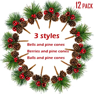Whaline 12 Pack Artificial Pine Picks Christmas Pine Needles Red Berries Shatterproof Ball Ornaments Jingle Bells Pine Cones for Christmas Flower Arrangements and Holiday Decorations