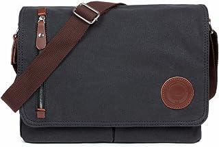 LOSMILE Bolsa Bandolera de Tela de Lona para Hombre,Unisex Vintage Canvas Bolso de Hombro para Messenger Bag para Trabajo ...