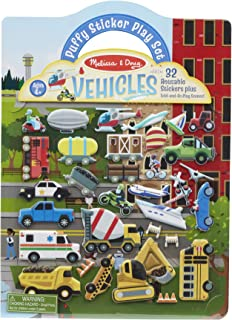 Melissa & Doug Vehicles Puffy Sticker Play Set Travel Toy with Double-Sided Background, 32 Reusable Puffy Stickers