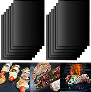 Rubik 10pcs Reusable Non-Stick BBQ Grill Mat Pad Baking Sheet Portable Outdoor Picnic Cooking Barbecue Accessory Works on ...