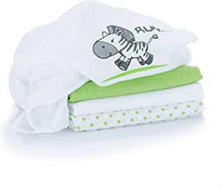 Muselina / Paño / Gasa algodón bebé - 4 Ud, 80x80 cm, estampado cebra, verde y blanco, Tejido doble con bordes reforzados, lavable a 60°, certificado OEKO-TEX