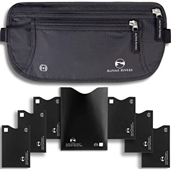 Money Belt for Travelling - Hidden Security Pouch for Cards and Passports - High Quality RFID Waterproof Breathable Material - Protect Your Cash and Conceal Valuables + 7 Bonus Sleeves