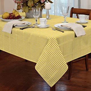 """Gingham Check Tablecloth Dining Room or Kitchen Table Linen 60"""" Round (Yellow)"""