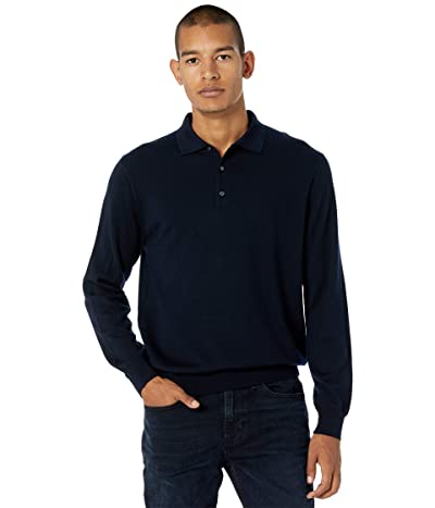 J.Crew Washable Merino Wool Polo Sweater (Indigo Sea) Men