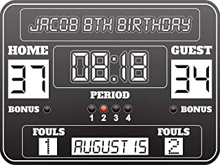 Basketball Birthday Party Banner, Basketball Scoreboard,Birthday Party Poster, Personalized Basketball Scoreboard, Scoreboard, Kids Party, Party Supply Poster Print, Size 24x36, 48x24, 48x36, 24x18