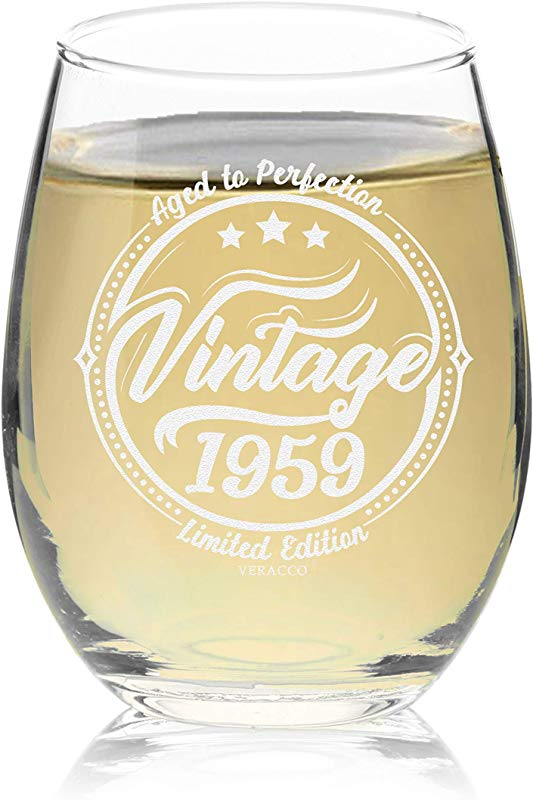 Veracco Vintage 1959 Aged To Perfection Stemless Wine Glass 60th Birthday Gift For Him Her Sixty And Fabulous Stemless Glass