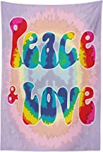 Ambesonne Groovy Tapestry, Peace and Love Text in Tie Dye Effect Pattern Energetic Youthful Fun 60s 70s Hippie, Fabric Wall Hanging Decor for Bedroom Living Room Dorm, 30