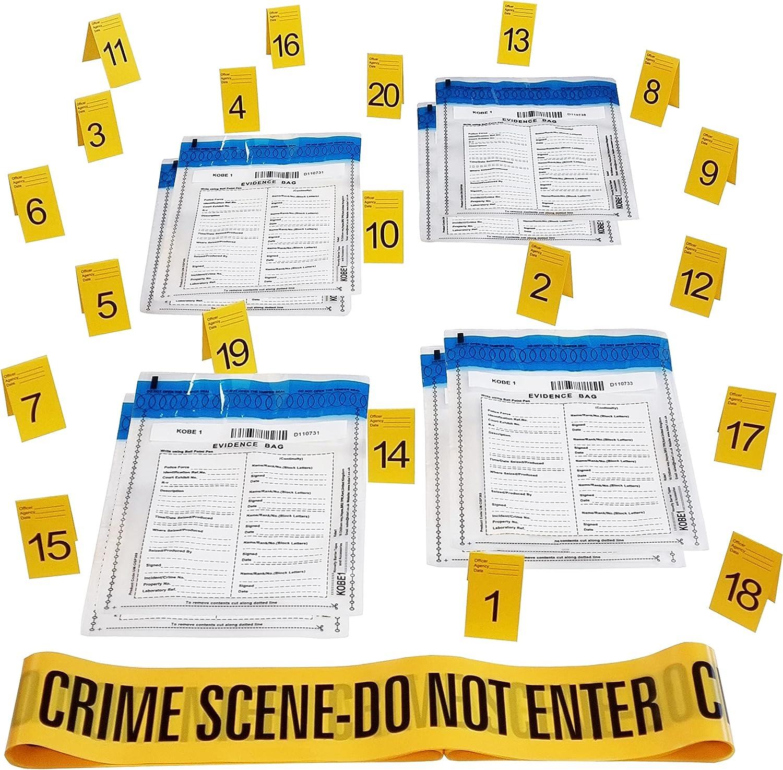Kobe1 Kit de escena de crimen: cinta adhesiva para escenas de crimen no entrar (20 x 1), bolsas de evidencia (8 unidades), marcos de fotos (tarjetas: 1 a 20), (7 cm x 4 cm plegado)