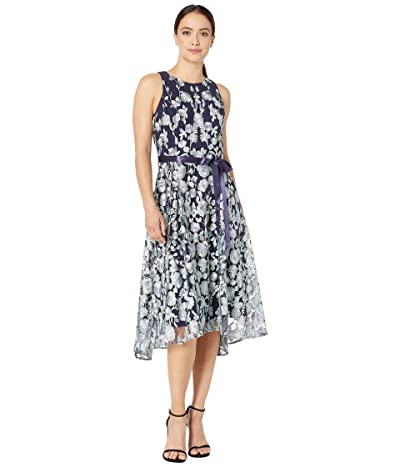 Tahari by ASL Petite Flare Skirt Party Dress (Navy Mint Floral) Women
