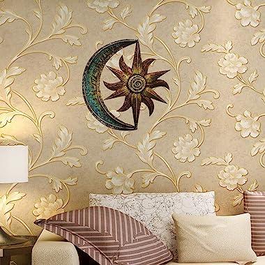 Crafia Celestial Themed Metal Wall Decor | Hand Painted Metal Wall Art | Moon Star Shape Iron showpiece | Metal Wall Decor Id