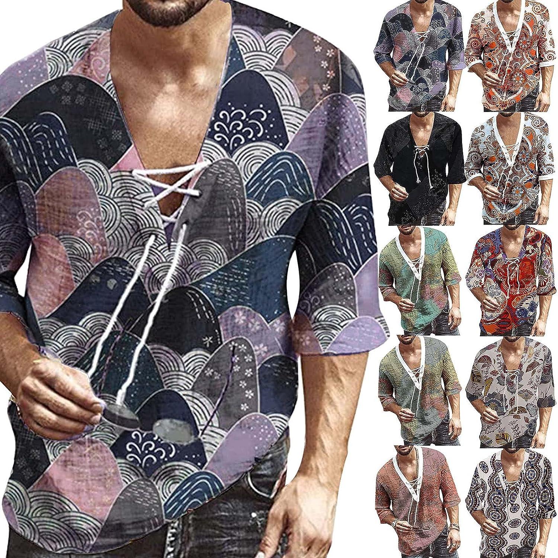 FUNEY Men's Stylish Floral Shirts Ethnic Casual Button Down Short Sleeve Hawaiian Shirts Casual Holiday Summer Shirt
