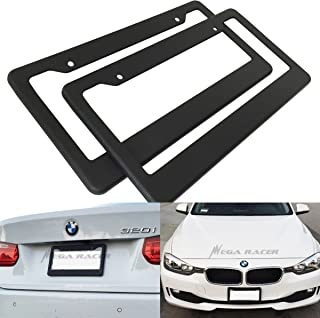 Mega Racer (Pack of 2) JDM Style Matte Black License Plate Frame Front and Rear Cover Holder Tag US Auto Car Sedan Truck SUV RV Van