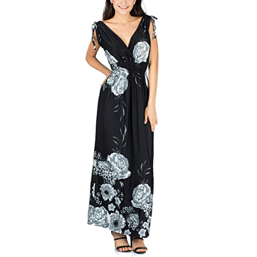 415cab4d1c9 fashion house Ladies Floral Vines Print Summer Beach Casual Holiday Maxi  Day Dress