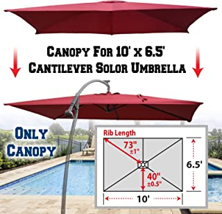 BenefitUSA Replacement Canopy Cover for 10' X 6.5' Cantilever Patio Umbrella Offest Parasol Top Replacement (Burgundy)