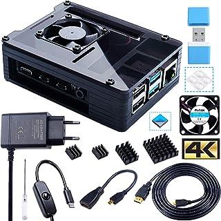 Bruphny Case per Raspberry Pi 4 con Ventola, 5V 3A USB-C Alimentatore, 4 Dissipatore, 1.8M Micro-HDMI Cavo, USB Lettore di Schede, Micro HDMI to HDMI Adattatore per Raspberry Pi 4 Modello B