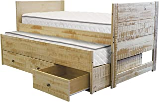Bedz King All in One Twin Bed with Twin Trundle and 3 Built in Drawers, Rustic Honey