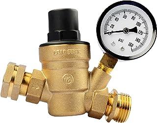 RVGUARD RV Water Pressure Regulator Valve, Brass Lead-Free Adjustable Water Pressure Reducer with Gauge and Inlet Screened Filter for RV Camper Travel Trailer