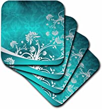3dRose Gray Flowers On a Turquoise Damask Background - Soft Coasters, Set of 4 (CST_218034_1)