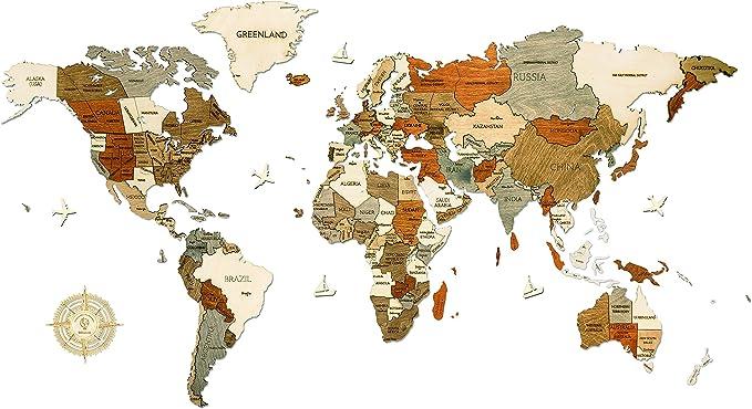 171 opinioni per Mappa del mondo in legno per la decorazione delle pareti- Legno tinto