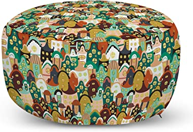 Lunarable Urban Ottoman Pouf, Cartoon Architecture Abstract Colorful Arrangement of Town Houses with Oval Windows, Decorative