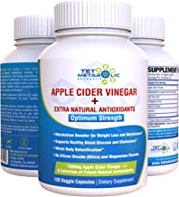 Apple Cider Vinegar (ACV) 120 Veggie Capsules Detox Weight Loss Fat Burner 1500mg Extra Strength with Coconut MCT, Aloe Vera, Astragalus, Cayenne, Vitamin A. Suppress Appetite Blood Sugar Cholesterol