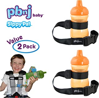 PBnJ Baby SippyPal Sippy Cup Holder Strap Leash Tether (Black 2-Pack)