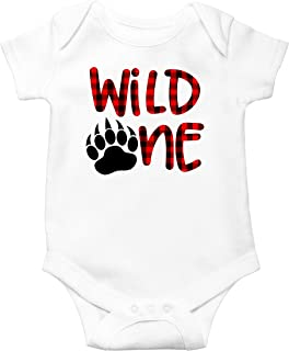 Olive Loves Apple Plaid Wild One Bear Paw 1st Birthday Bodysuit for Boys First Birthday Outfit