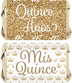Quinceanera Party Mini Candy Bar Wrapper Stickers, 45 Count (White and Gold)
