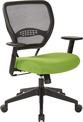 Office Star Space 55 Series Professional Black Air Grid Back Adjustable Manager's Chair with Lumbar Support and Padded Green Mesh Seat