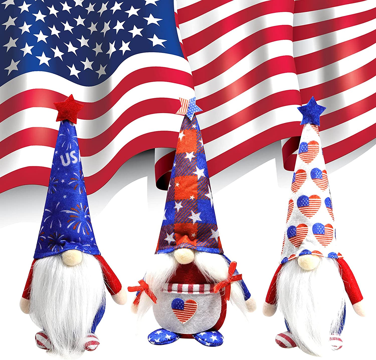 Patriotic Gnome Plush, 4th of July Home Decor, Stars Stripes Handmake Scandinavian Tomte Doll for American Memorial Day Independence Day Decorations Home Kitchen Household Ornaments