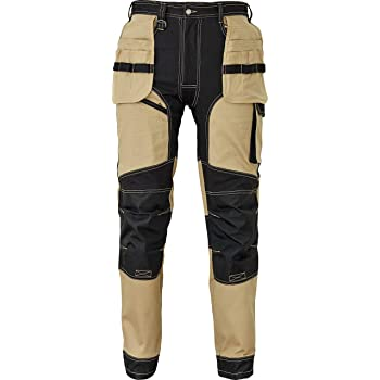 DINOZAVR Keilor Mens Cargo Work Trousers with Knee Pad Pockets Elastic Waist and Multifunctional Pockets