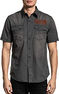 Affliction Prospect Short Sleeve Fashion Woven Button Down Shirt For Men