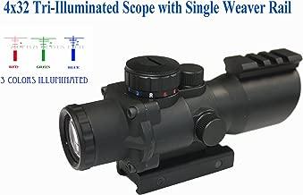 Aim Sports Inc 4X32 Tri-Illuminated Scope with Single Weaver Rail/Recon Series