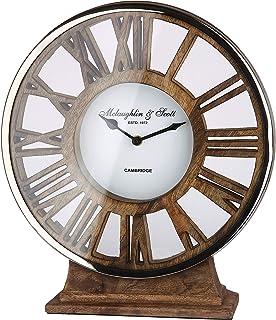 Gilde – Reloj de pie de Aluminio con pie de Madera para una Pila AA 34 cm x 21 cm