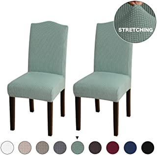Turquoize Stretch Chair Furniture Protector Covers Jacquard Dining Room Chair Slipcovers Sets Machine Washable Removable Chair Furniture Cover for Dining Room, Hotel, Ceremony Set of 2, Cyan