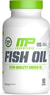 MP Essentials Omega-3 Fish Oil, 100% Highly Purified Nordic-Sourced Fish-Oil Supplement, MusclePharm, Decrease in Fat and Cholesterol, Natural Citrus Flavor, 90 Servings