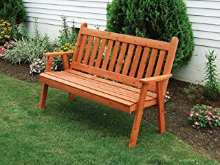 A & L Furniture Traditional English Garden Bench, Oak Stain