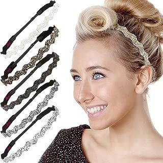 Hipsy Women's Adjustable No Slip Cute Fashion Headbands Bling Glitter Hairband Packs