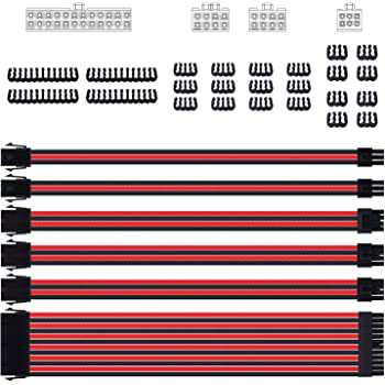 Smraza Sleeved Cable Extension Kit for Power Supply with Extra Sleeved, PSU Connectors, 24-Pin 8-Pin 6-Pin 4+4-Pin with Cable Combs(11.8 inch/ 30cm) (Red & Black)
