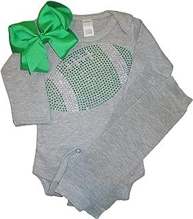FanGarb Baby Girl's Green Rhinestone Football Team Rhinestone Outfit, Bodysuit, Leg Warmers & Bow