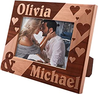 Personalized Picture Frames 4x6, 5x7, 8x10 - Hearts Love Personalized Romantic, Wedding Photo Frame, Engagement, Valentine's Day, Wedding Gifts for The Couple