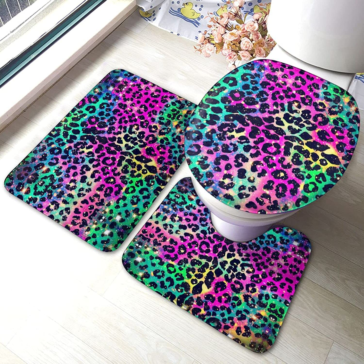 Bathroom Rug Set 3 Piece Colored Fixed price for sale Al sold out. Leopard Bath Non-Slip Printed
