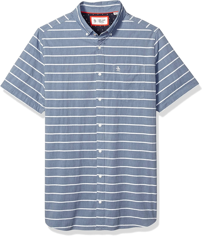 Original Penguin Men's Big and Tall Short Sleeve Stripe Button Down Shirt