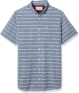 Men's Big and Tall Short Sleeve Stripe Button Down Shirt