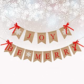 Christmas Burlap Bunting Banner Joy Burlap Banner Be Merry Banner with Bow Ribbons for Holiday Christmas Party Mantel Fireplace Hanging Decorations
