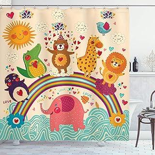 "Ambesonne Cartoon Shower Curtain, Happy Animals Bear Lion Elephant Crocodile Birds on Rainbow Children Drawing Effect, Cloth Fabric Bathroom Decor Set with Hooks, 70"" Long, Orange Green"