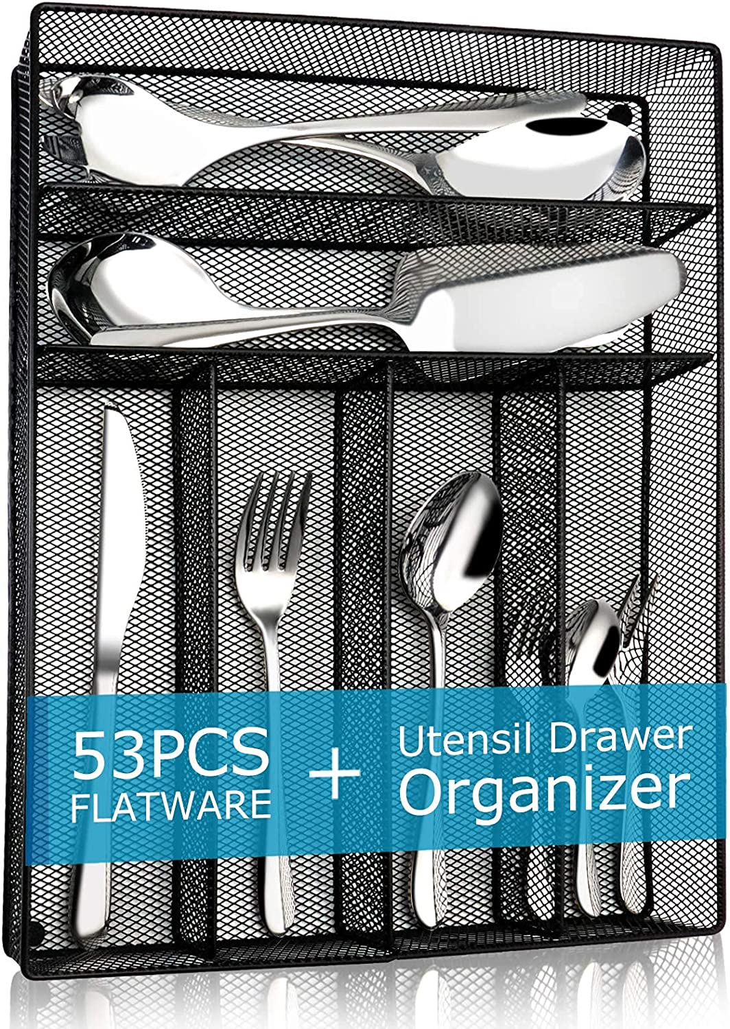 Silverware set 53-Piece Flatware Great interest tray with Al sold out. Set Drawer Cutlery O