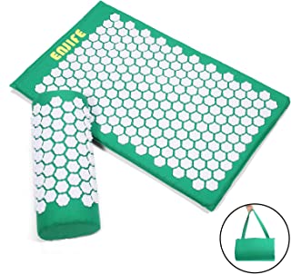 ENJIFE Acupressure Mat Pillow Lotus Massage Cushion Set Full Body Nails Sleep Mats for Back, Legs, Neck, Sciatica, Trigger Point Therapy, Pain and Stress Relief (ACU Green Set-White Lotus)